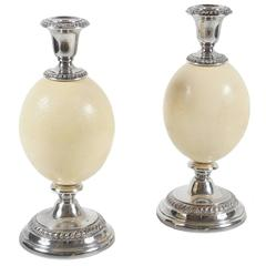 Unusual Pair of Edwardian Sheffield Silver Plate and Ostrich Egg Candlesticks