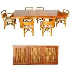 Rare Restored Mid-Century Rattan and Mahogany Dining Set with Sideboard