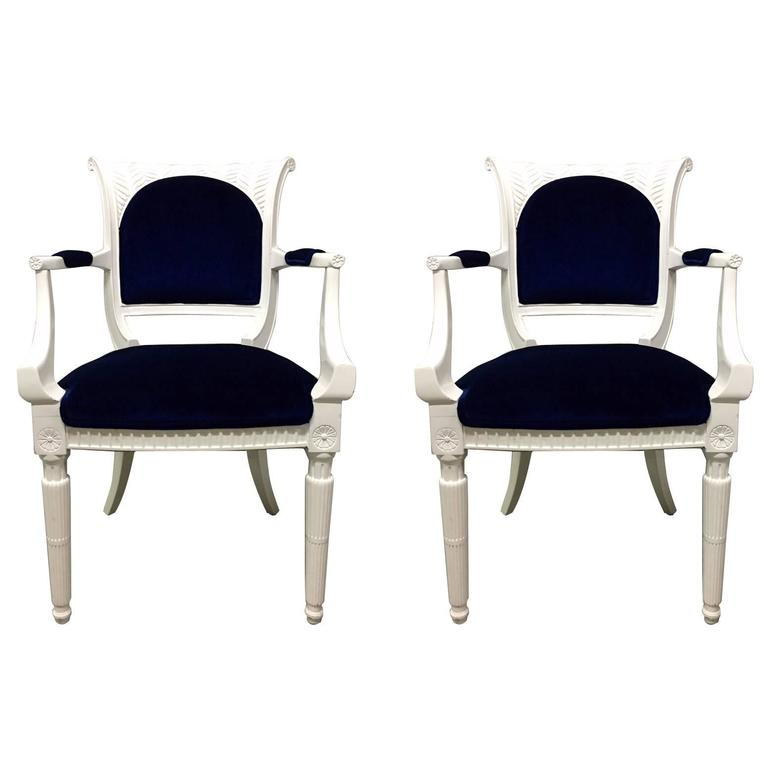 Pair of 1940s Lacquered Regency Style Armchairs in Blue Mohair