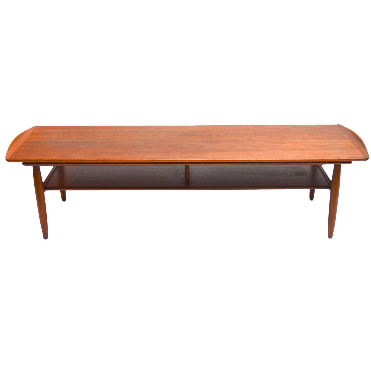 Mid century modern two tiered walnut coffee table at 1stdibs Mid century coffee tables