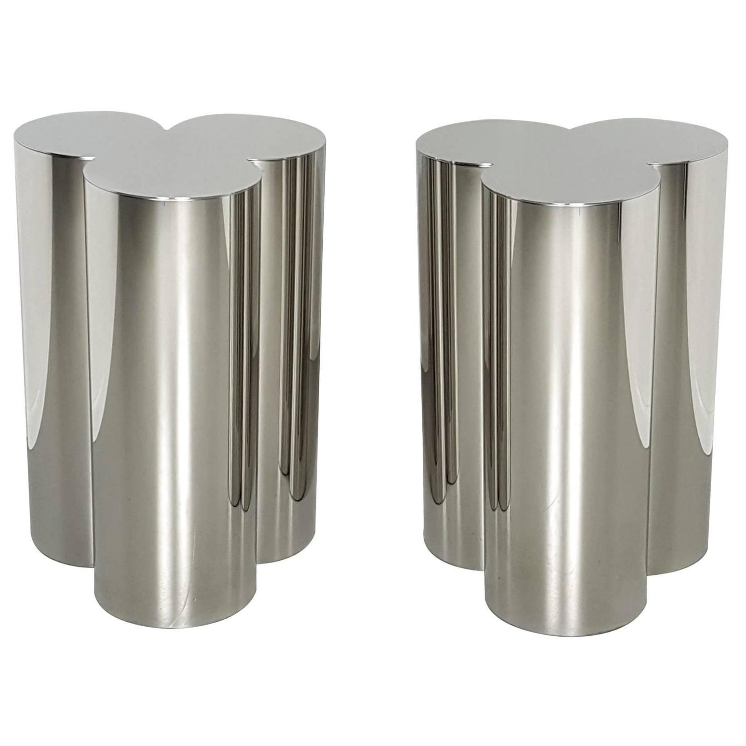 Custom Trefoil Dining Table Pedestal Bases In Mirror Polished Stainless Steel At 1stdibs