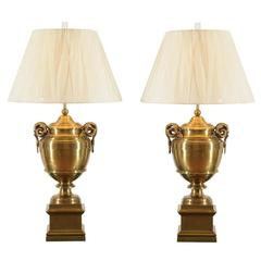 Exquisite Pair of Brass Urn Lamps in the Style of Maison Jansen
