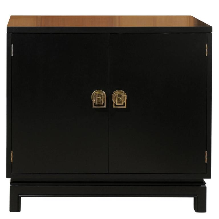 Elegant Mahogany Cabinet by Renzo Rutili in Black Lacquer