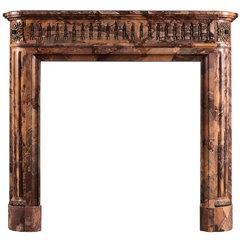 Petite Louis XVI Style Marble Fireplace Mantel For Sale