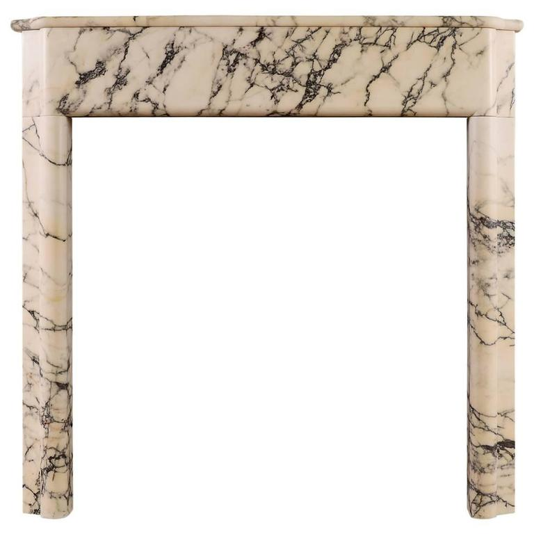 Art Deco Fireplace Mantel in Italian Pavonazzo Marble For Sale