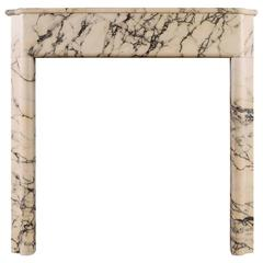Art Deco Fireplace Mantel in Italian Pavonazzo Marble