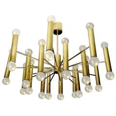 36 Lights Sculptural Sciolari Chandelier Italian Modernist Brass Ceiling Fixture