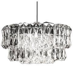 Three-Tier Kinkeldey Crystal Chandelier Modernist Chrome Ceiling Fixture