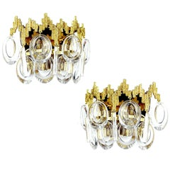 Pair MidCentury Palwa Gilt Brutalist Brass Crystal Glass Vanity Sconces,  1960s