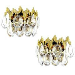 Pair Palwa Gold-Plated Brass Crystal Glass Vanity Sconces,  1960s
