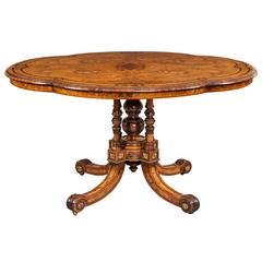 19th Century Shaped Centre Table with Inlay and Gilt Metal by Gillows