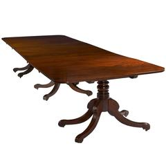 Early 19th Century Regency Mahogany Three Pedestal Dining Table
