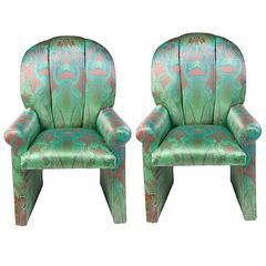 Milo Baughman Scallop Back Chairs in Pucci Silk, Pair