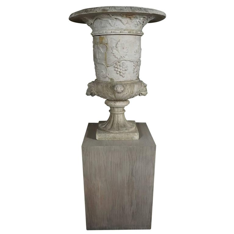 Italian 19th Century Carved White Marble Garden Urn on Limed Walnut Pedestal   For Sale