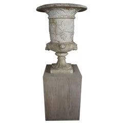 Italian 19th Century Carved White Marble Garden Urn on Limed Walnut Pedestal