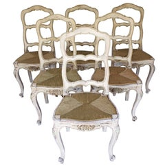 Set of Six Painted French Provincial Chairs Louis XV Style
