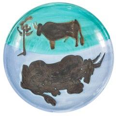 """""""Toros"""" Madoura Ceramic Plate by Pablo Picasso"""