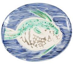 Striking 'Poisson Bleu' Madoura Ceramic Plate by Pablo Picasso