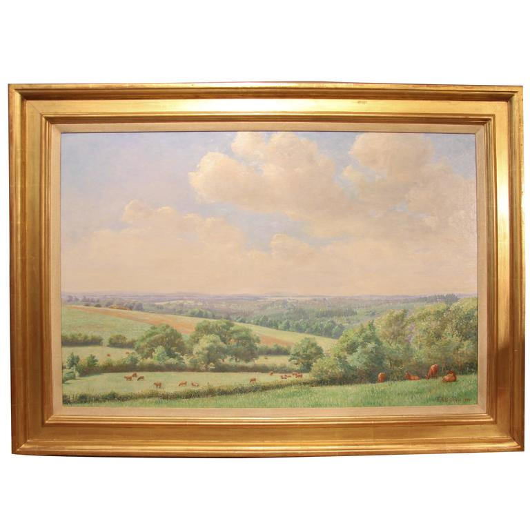 Landscape Oil Painting by Frederick A. Bishop, Signed 1906