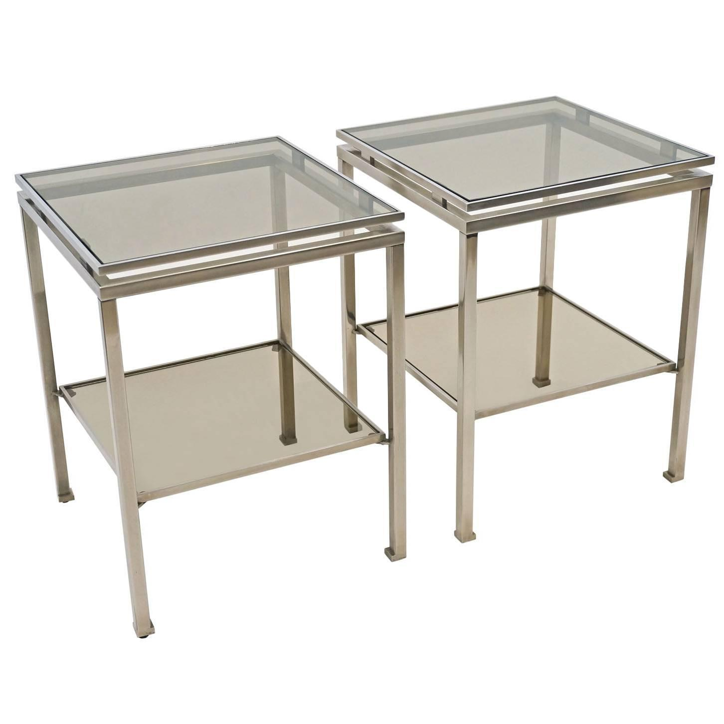 Pair of Two Tiered Chrome Side and Smoked Glass Side Tables by
