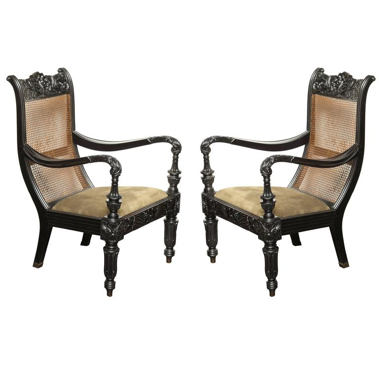 Pair of Raj, Cane Back Planters Chairs, circa 1830