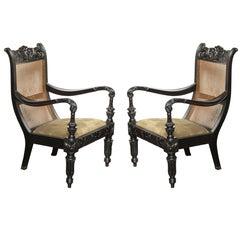 Pair of Raj, Cane Back Planters Chairs, circa 1830