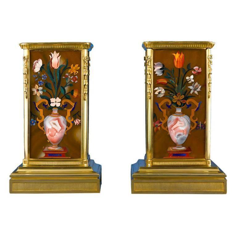 Superb Russian Malachite and Pietra Dura Plinths For Sale