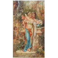 "Hans Zatzka, Austrian Oil on Canvas Titled ""Spring Love"" Maiden with Cherubs"