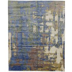 New Modern Silk Area Rug with Contemporary Abstract Style