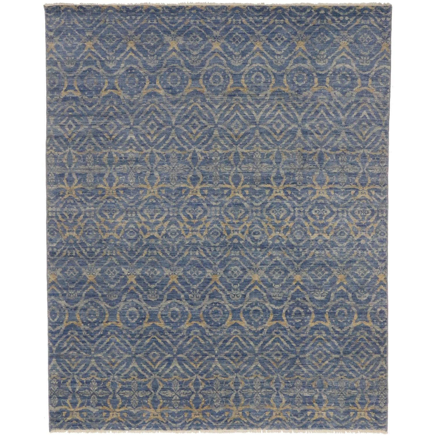 Area Rugs From India: Transitional Area Rug In 'Morjim Beach' Blue With Modern