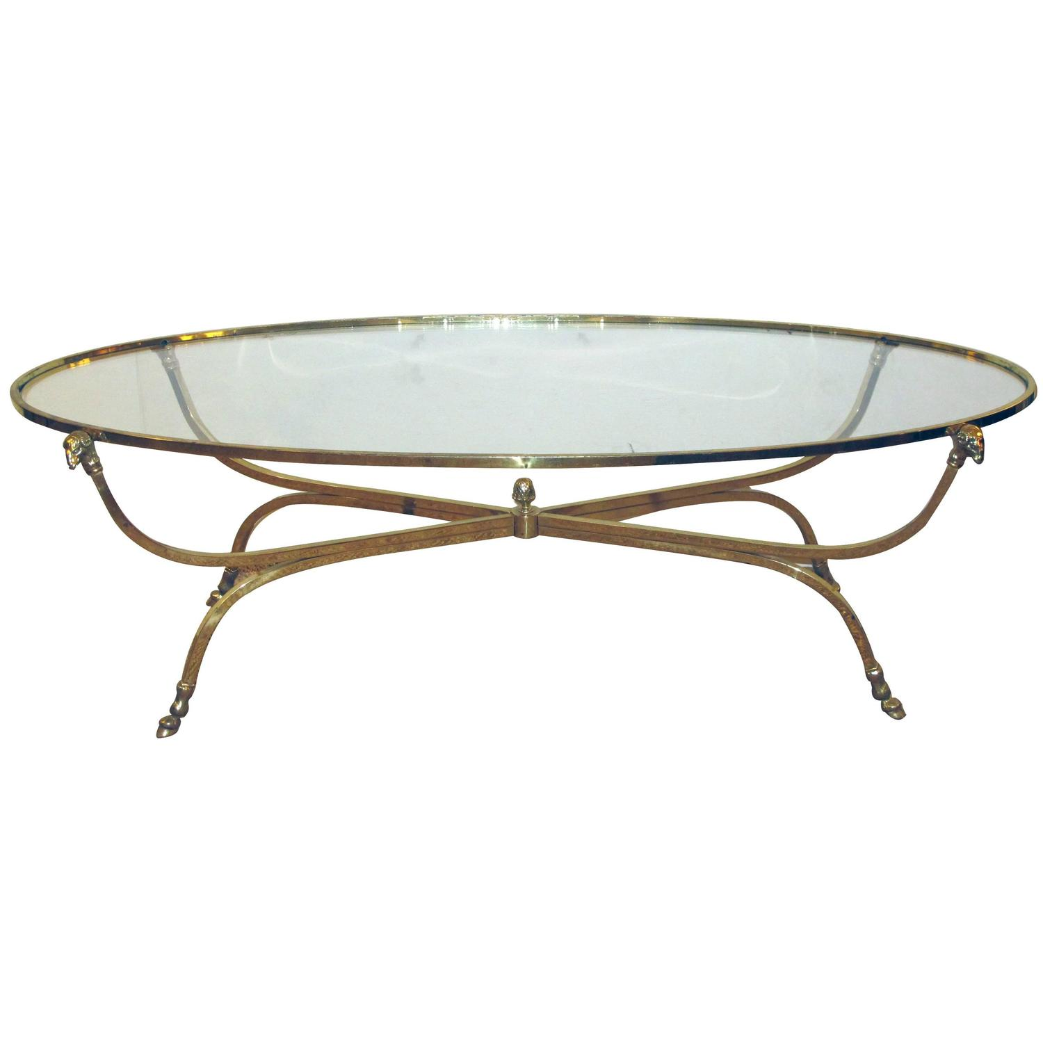 French Oval Coffee Table: Quality French Brass Oval Coffee Table With Glass Top, By