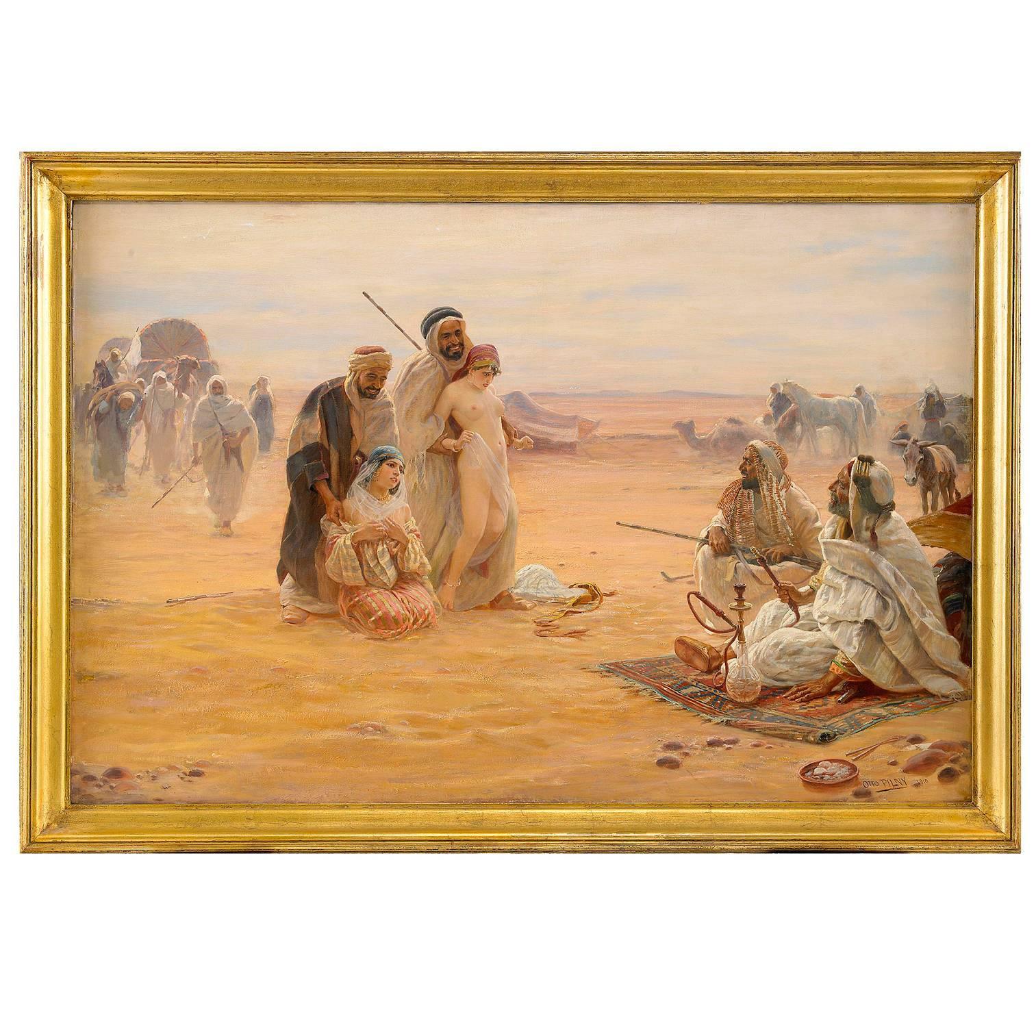 "Otto Pilny Orientalist Oil on Canvas ""The Slave Market"" a North African Scene"