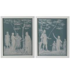 Pair of Framed Villeroy & Boch Mettlach Phanolith Plaques by J.B. Stahl