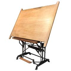 Optima French Adjustable Architect's Drafting Table, 1900s