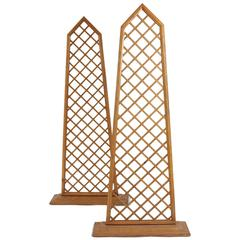 Pair of Wall Screens in Wood, circa 1970-1980 from Maison Siegel