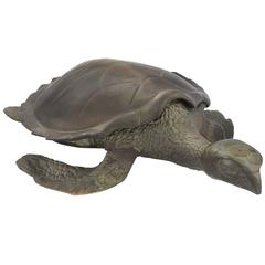 Large Solid Brass Sea Turtle with Internal Compartment