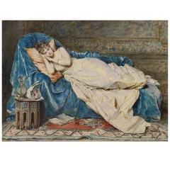 Young Lady Reclining on a Blue Satin Robe Painting