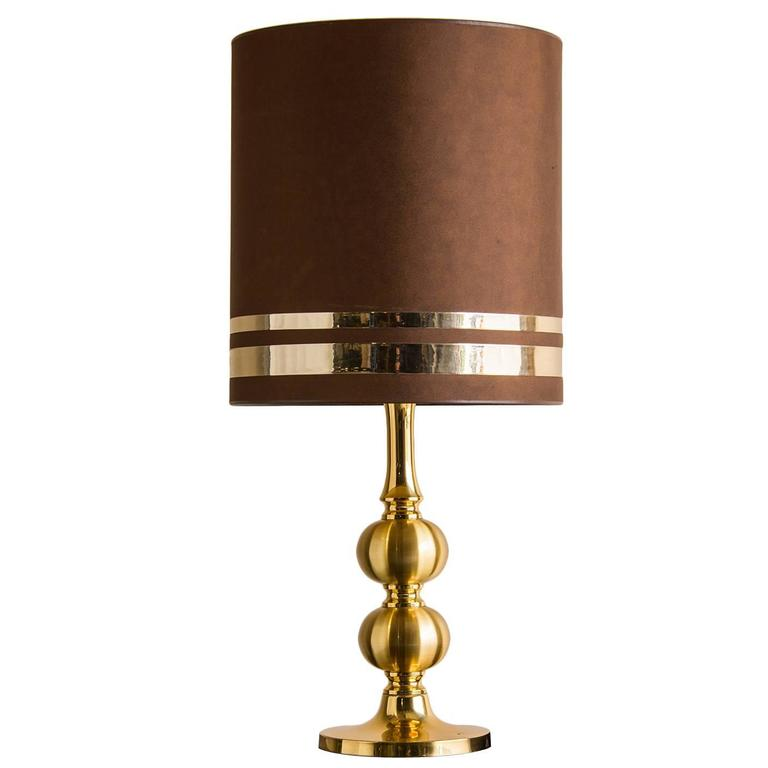 Vintage French Gilded Brass Table Lamp, Original Shade, circa 1970