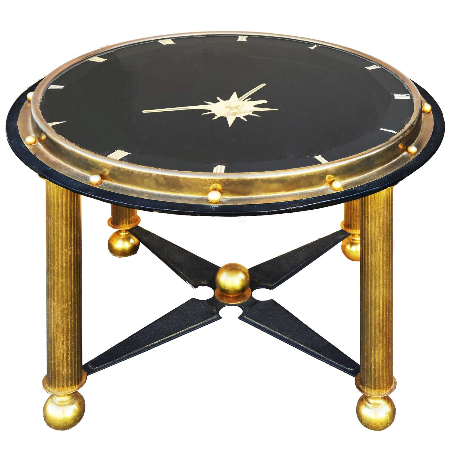 Jacques Adnet Style Clock Coffee Table For Sale At 1stdibs