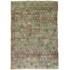 Pink Vintage Turkish Art Deco Carpet