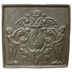 Antique Cast Iron Fireback, France, 1800s