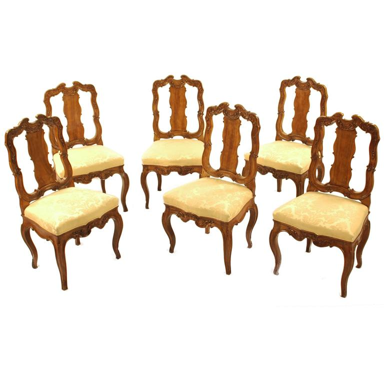 Set Of Six Baroque Chairs, Southern Germany, Circa 1740 1750 For Sale