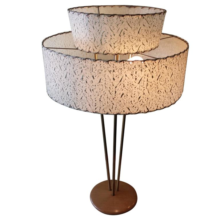 Gerald Thurston Stiffel 1950s Table Brass and Wood Lamp