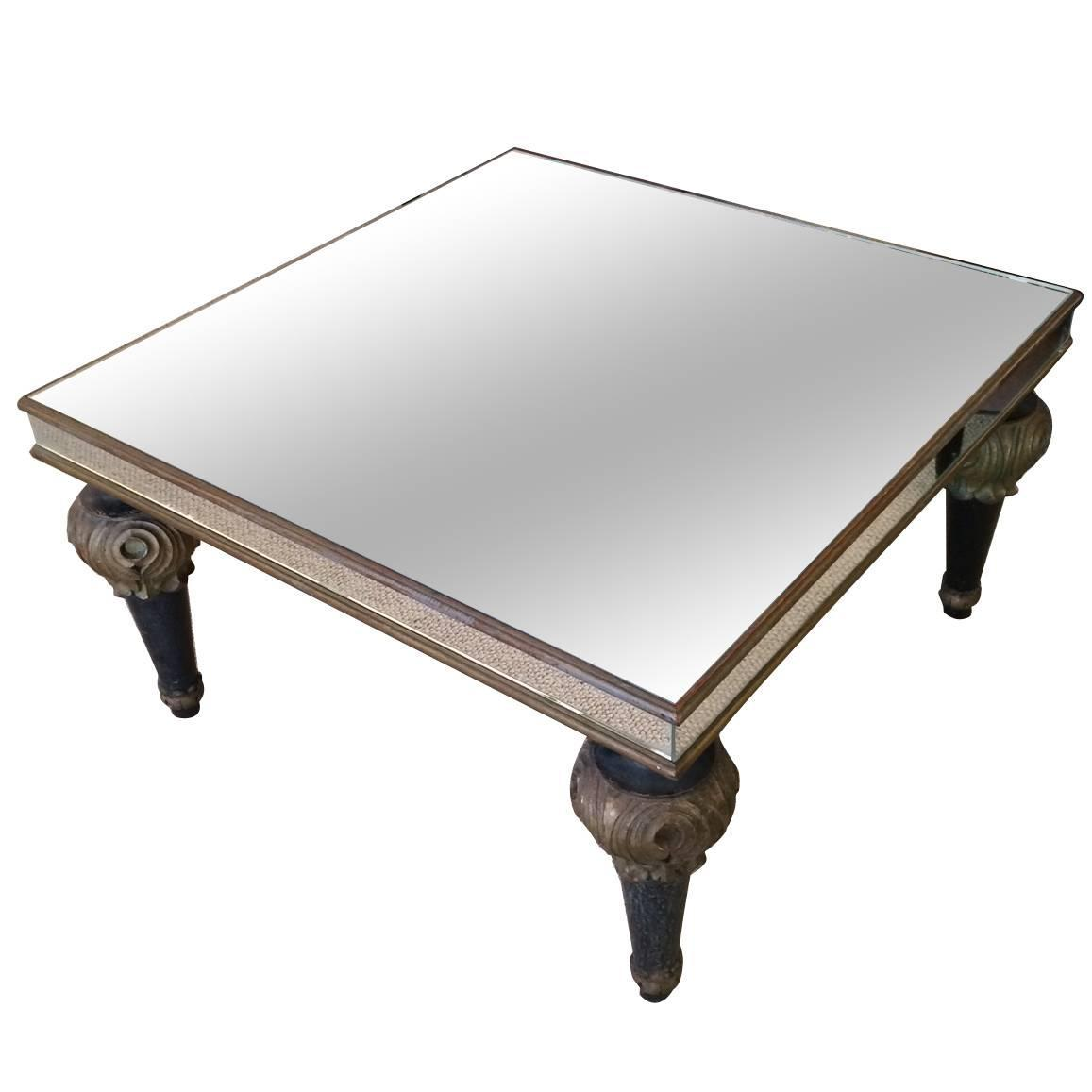 Mid Century Mirrored Coffee Table With Decorative Wooden Turned Legs At 1stdibs
