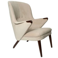 Scandinavian Modern Curved High Back Upholstered Lounge Chair with Teak Legs