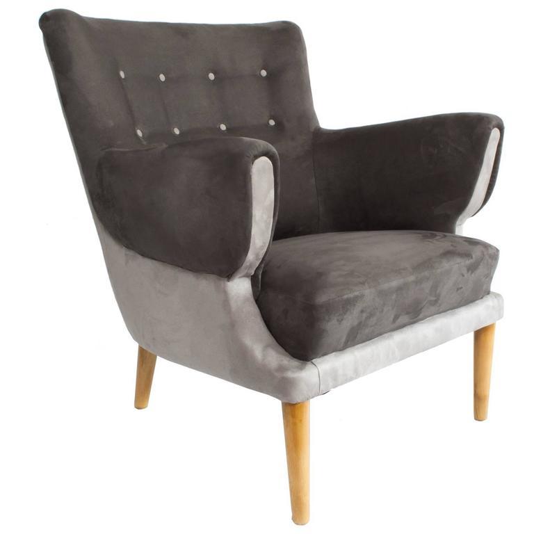 Scandinavian Modern Lounge Chair Upholstered Gray Velvet Beechwood Legs