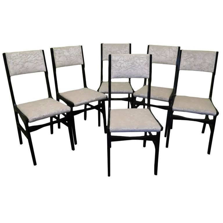 Carlo De Carli attributed, circa 1955 Italian Mid-Century Set of Six Chairs