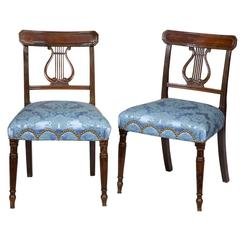 Pair of English Lyre Back Regency Side Chairs, circa 1810