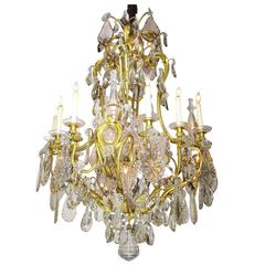 19th Century Gilt Bronze and Crystal Chandelier from the Spelling Manor