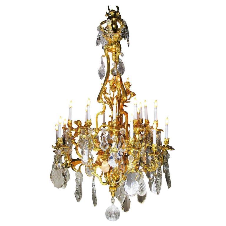 French 19th Century Louis XV Style Cherub & Dragons Ormolu & Crystal Chandelier For Sale